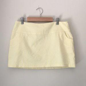 Aqua Yellow Lined Seersucker Miniskirt